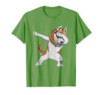 Dabbing Siberian Husky shirt green for kids