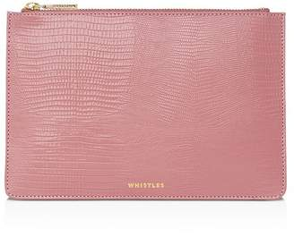 Whistles Small Lizard-Embossed Clutch