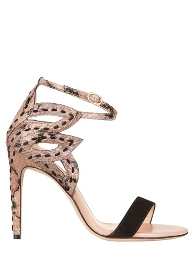 Alexandre Birman 110mm Suede And Water Snake Sandals