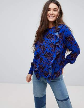Only Floral High Neck Blouse With Ruffles