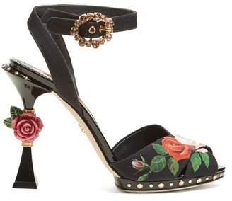 Dolce & Gabbana Floral Print Sculptural Heel Sandals - Womens - Black Multi