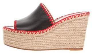 Valentino Leather Wedge Slide Sandals