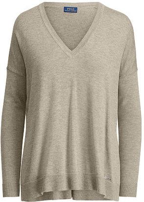 Polo Ralph Lauren Cotton-Blend V-Neck Sweater $125 thestylecure.com
