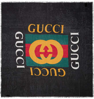 Gucci Frayed Printed Modal And Silk-blend Scarf - Black