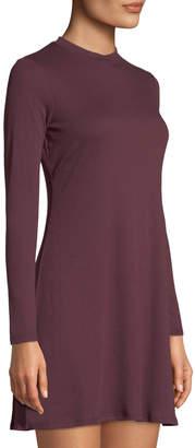 Love, Fire Mock-neck Long-Sleeve Ribbed Dress