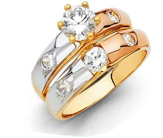 GM Wedding Collection 14k Tri Color Gold Engagement Ring and Wedding Band 2 Piece Set - Size 7.5