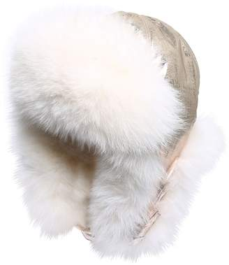 Yves Salomon Enfant QUILTED NYLON & FUR AVIATOR HAT