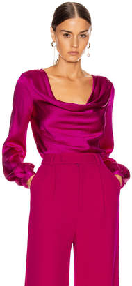 Rebecca De Ravenel Cowl Neck Blouse in Magenta | FWRD