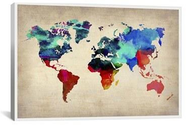 Icanvas 'World Watercolor Map - Michael Thompsett' Giclee Print Canvas Art