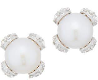Honora Cultured Pearl & White Topaz Earrings,Sterling