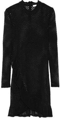 IRO Fabyh Ruffle-Trimmed Open-Knit Cotton-Blend Mini Dress