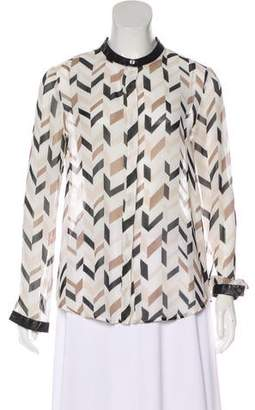 DKNY Printed Button-Up Top
