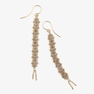 Amali Long Textile Earring Silver Diamond, Gold