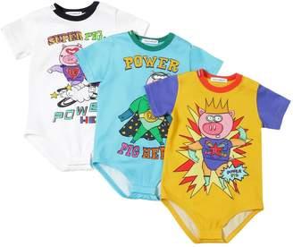 Dolce & Gabbana Set Of 3 Pig Print Jersey Bodysuits