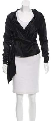 Carmen Marc Valvo Silk Wrap Top