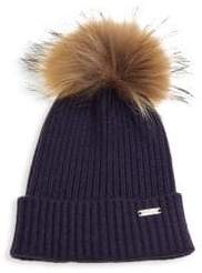 Bari Lynn Kid's Rib-Knit Fox Fur Pom-Pom Beanie