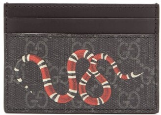 447ac8c04d20 Gucci Kingsnake Print Gg Canvas Cardholder - Mens - Black Multi