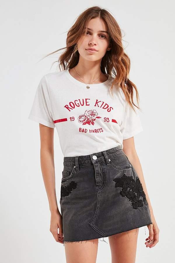 BDG Embroidered Denim Mini Skirt