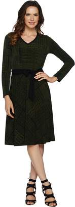 Susan Graver Printed Liquid Knit Dress with Belt