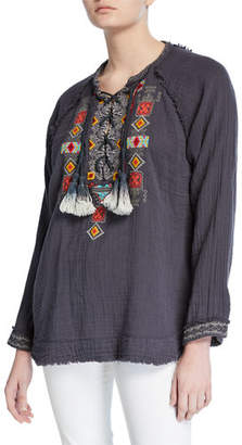 Johnny Was Jonnie Lace-Up Long-Sleeve Embroidered Cotton Gauze Blouse
