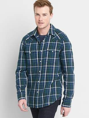 Plaid western slim fit shirt