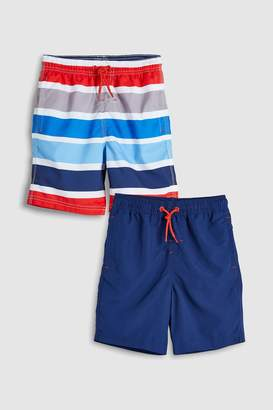 Next Boys Multi Stripe Swim Shorts Two Pack (3-16yrs)