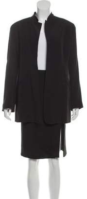 Armani Collezioni Collarless Knee-Length Skirt Suit Black Collarless Knee-Length Skirt Suit