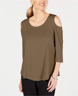 JM Collection Petite Cold-Shoulder Top