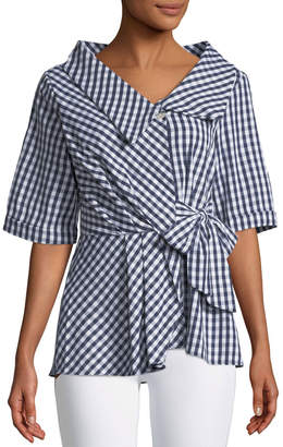 Gingham Fit & Flare Blouse Alberta Ferretti Professional For Sale Sale Excellent Clean And Classic Amazing Price Sale Online Cheap Price Top Quality Y2rmF