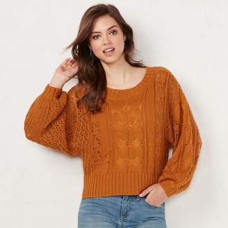 Lauren Conrad Women's Cable-Knit Crop Sweater