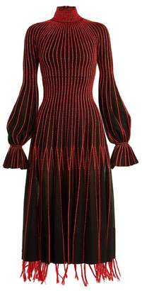 Alexander McQueen Contrast Stitching High Neck Silk Dress - Womens - Black Red