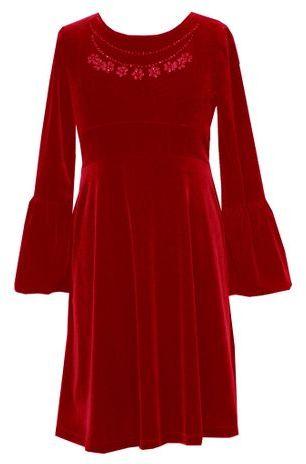 Rare editions 7-16 bell-sleeve velvet dress