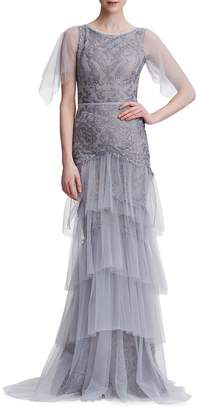 Marchesa Embroidered Tiered Tulle Gown