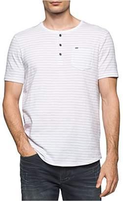 Calvin Klein Jeans Men's Short Sleeve Washed Stripe Henley Shirt
