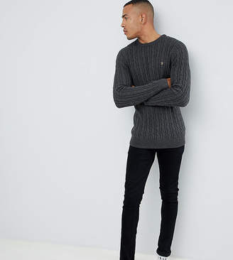 Farah Ludwig twisted marl cable sweater in charcoal
