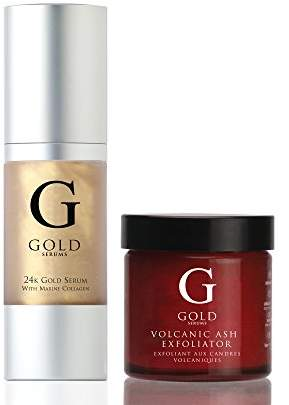 Ash Gold Serums Volcanic Exfoliator and 24K with Marine Collagen