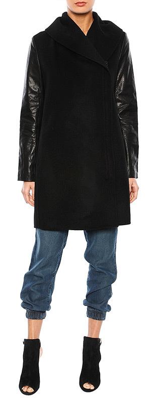 Vince Leather Sleeve Shawl Collar Jacket