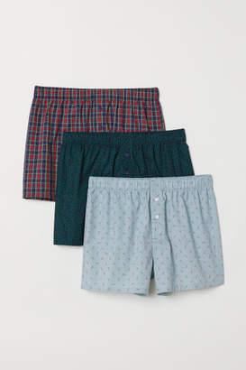 H&M 3-pack Woven Boxer Shorts - Blue