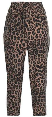 Joie Cropped Leopard-Print Silk Straight-Leg Pants