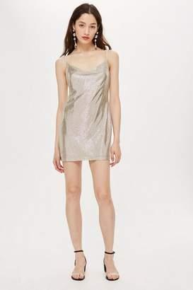 Topshop Petite Foil Cowl Mini Dress