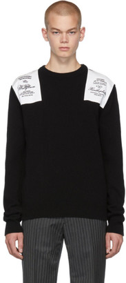 Raf Simons Black Embroidered Shoulder Patch Sweater