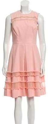Lela Rose Distressed A-Line Dress Coral Distressed A-Line Dress