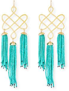 Devon Leigh Trellis Tassel Earrings, Turquoise