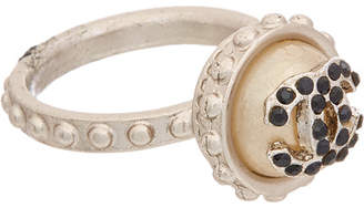 Chanel Silver-Tone Pearl & Crystal Ring