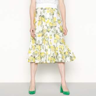 Red Herring Yellow Lemon Print Cotton High Waisted Midi Skirt