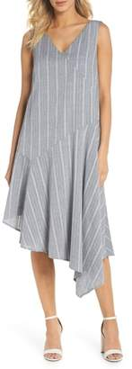 Maggy London Leno Stripe Asymmetrical Dress