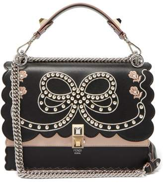 Fendi Kan I Bow Embroidery Leather Shoulder Bag - Womens - Black Multi