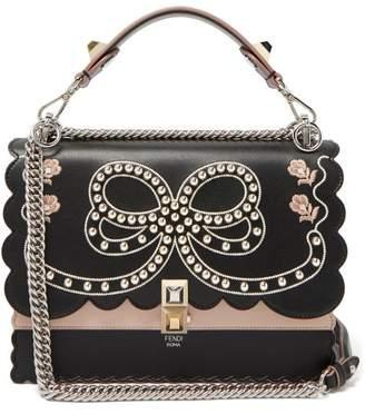 889f4b950c8c Fendi Kan I Bow Embroidery Leather Shoulder Bag - Womens - Black Multi