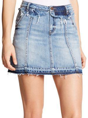Jessica Simpson Plus Frayed Denim Skirt $69.50 thestylecure.com