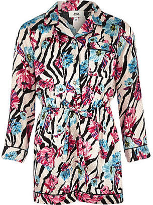 River Island Girls pink zebra floral print pajama romper